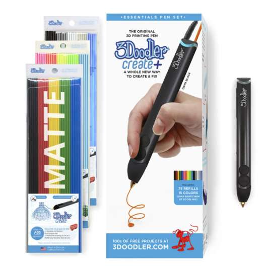 3Doodler Create+ Essentials 3D Printing Pen Set Black