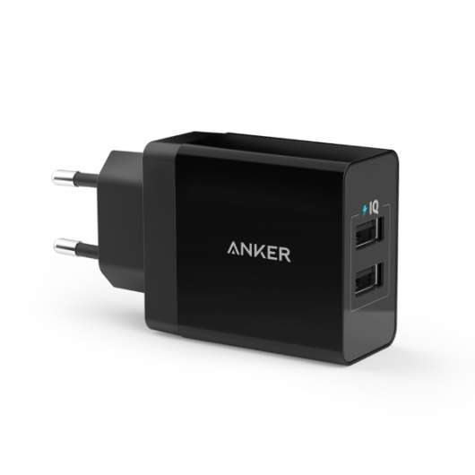 Anker PowerPort 24W 2-Port USB Charger - Svart