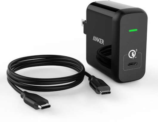 Anker PowerPort 24W USB-C Quick Charge 3.0 Svart