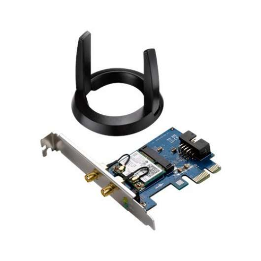 ASUS - Wireless PCI-E Adapter AC1200 / 1200Mbps / Dual-Band / Bluetooth 4.0 / External antenna