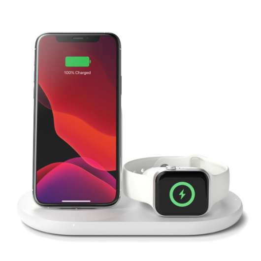 Belkin - 3-in-1 Trådlös Qi-laddare för iPhone, Apple Watch och AirPods - Vit