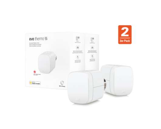 Eve Thermo (2020) 2-Pack fungerar med Apple HomeKit