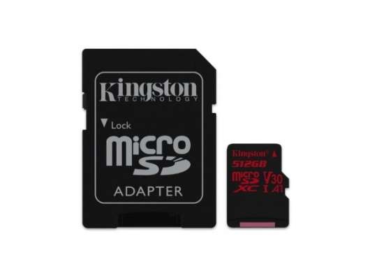 Kingston microSDXC Canvas React - 512GB / Class10 / UHS-1 / 100MB/s / Adapter