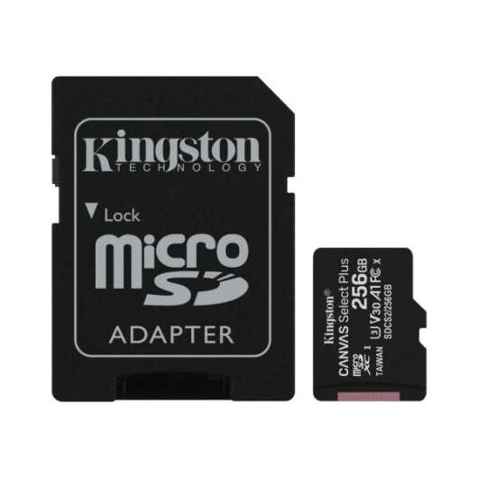 Kingston microSDXC Canvas Select Plus - 256GB / Class 10 / UHS-1 / Adapter