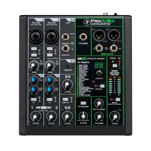 Mackie ProFX6v3 - 6 Channel Professional Effects Mixer with USB